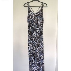 Loft Maxi Dress. Blue and brown floral pattern.